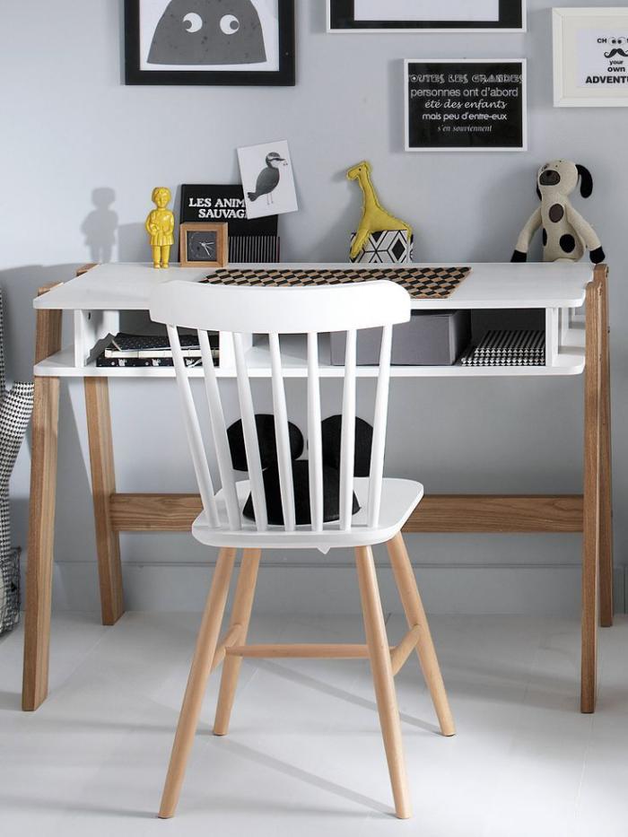 chaise-scandinave-vintage-rénovée-peinte-blanche