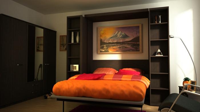chambre-à-coucher-lit-griffon-pièce-design-intérieur-ligne-orange