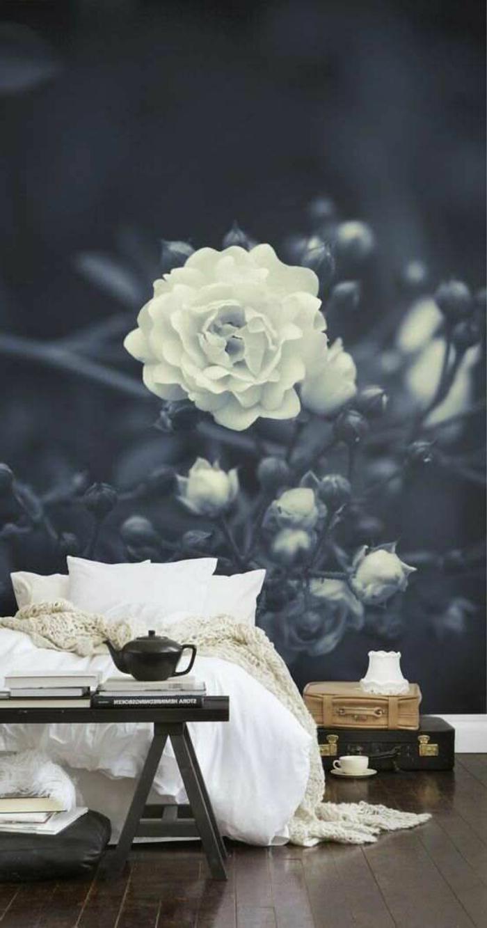 chambre-a-coucher-avec-idee-papier-peint-salon-avec-un-joli-fleur-blanche-pour-le-mur-dans-la-chambre-à-coucher