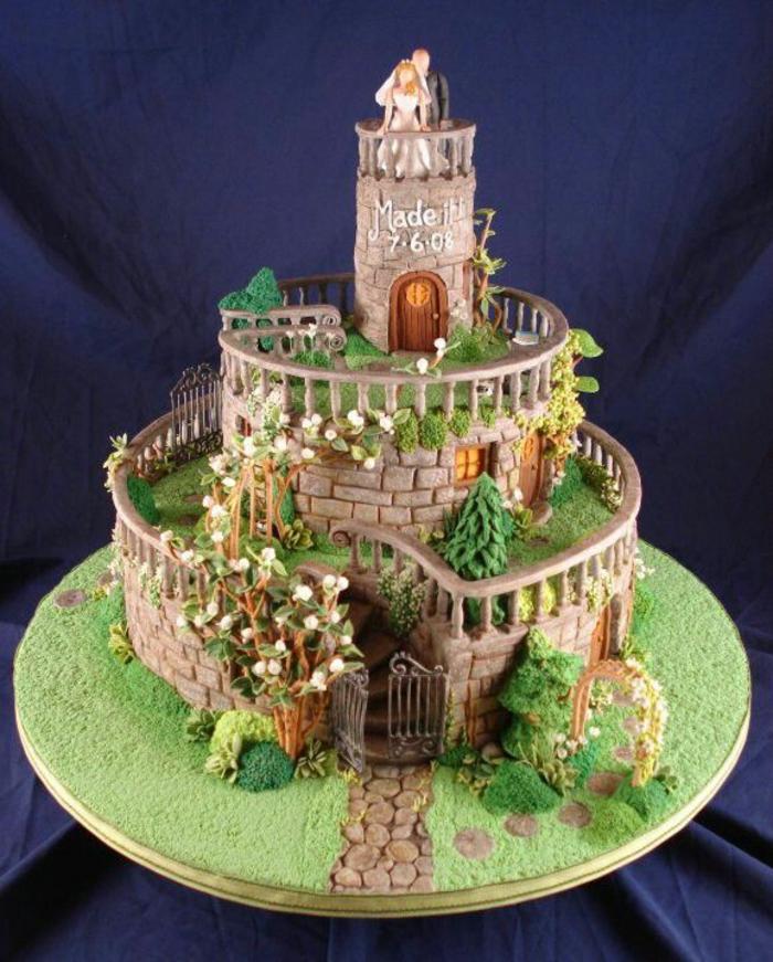 chateau-gateau-mariage-jardin-tour-pierres-détailes-patisserie-artisante