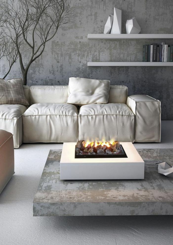 cheminée-centrale-cheminée-design-intérieur-idées-gris-table-basse-salon