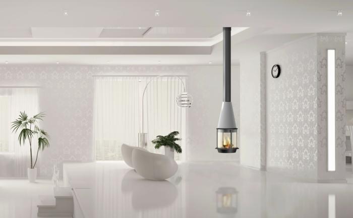 cheminée-suspendue-centrale-utilité-et-beauté-blanche-pièce-minimaliste