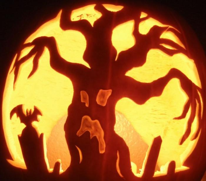 citrouilles-halloween-le-meilleur-design-déco-arbre-cimetière