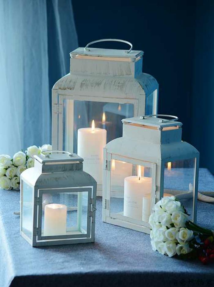 déco-mariage-originale-photophore-idées blanc-vintage-lanterne