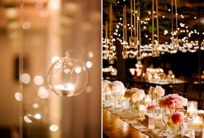 Déco salle mariage avec le photophore mariage