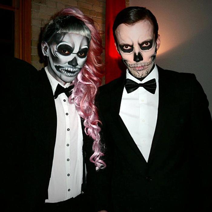 déguisement-femme-halloween-idées-déguisement-halloween-couple-squellet