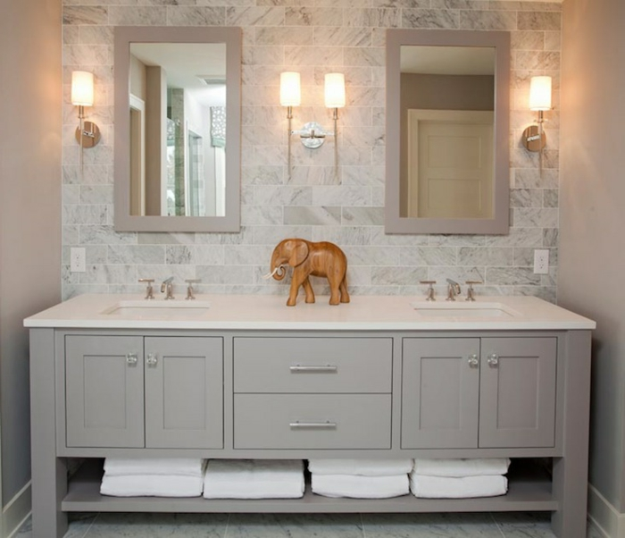 Meuble double vasque 50 id es am nagement salle de bain for Idee meuble salle de bain