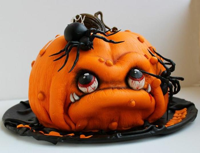 gâteau-halloween-facile-faire-la-fête-toussaint-déco-citrouille-orange