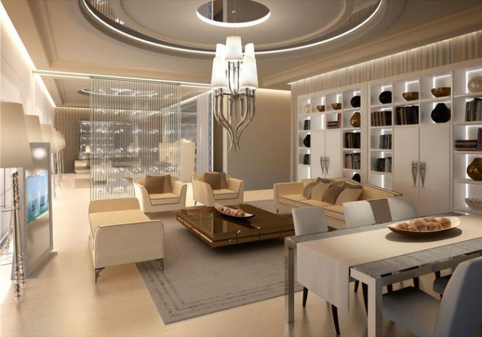 grand-lustre-luminaire-moderne-intérieur-clair-en-couleur-crème