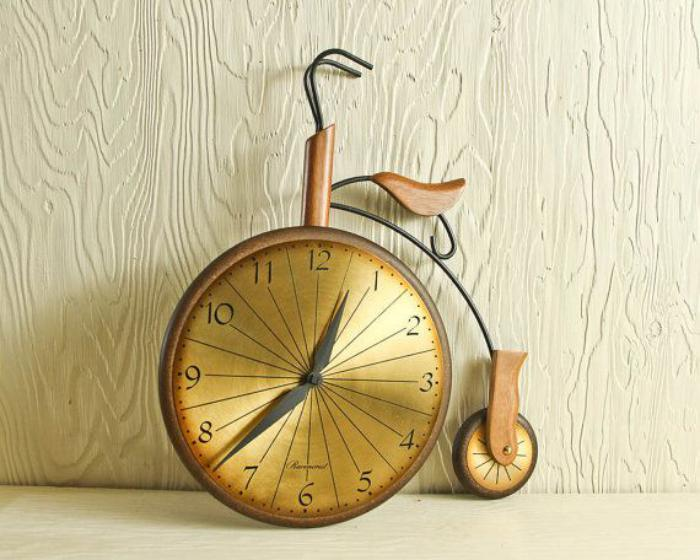 horloges-murales-horloge-bicyclette-couleur-d'or