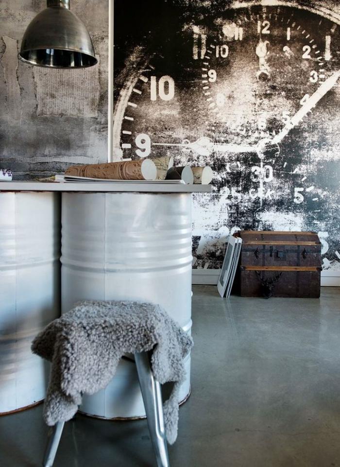 horloges-murales-peinté-sur-le-mur-en-béton-aménagement-diy