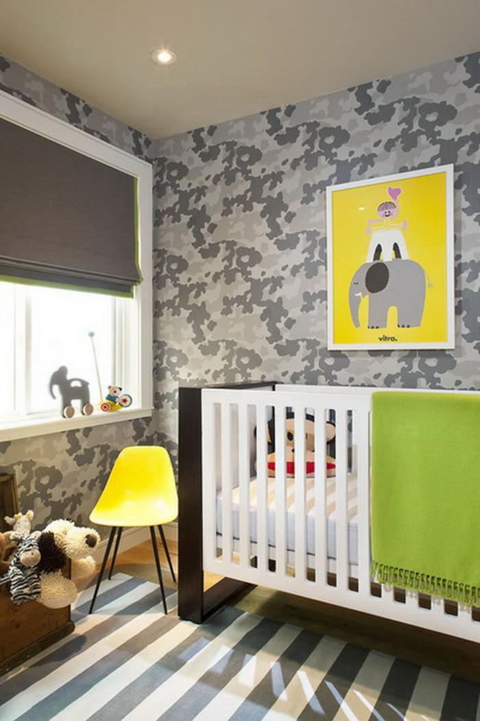 idée-chambre-bébé-decoration-originale-jouets-lit-bébé-vert