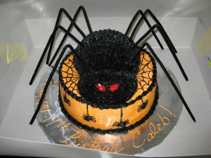 idée-gâteau-d-halloween-préparer-un-gâteau-festive-araignée