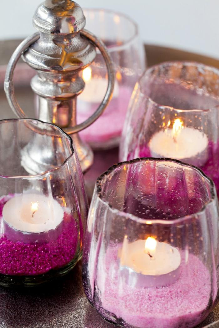 idées-mariage-originale-décoration-avec-bougies-en-rose