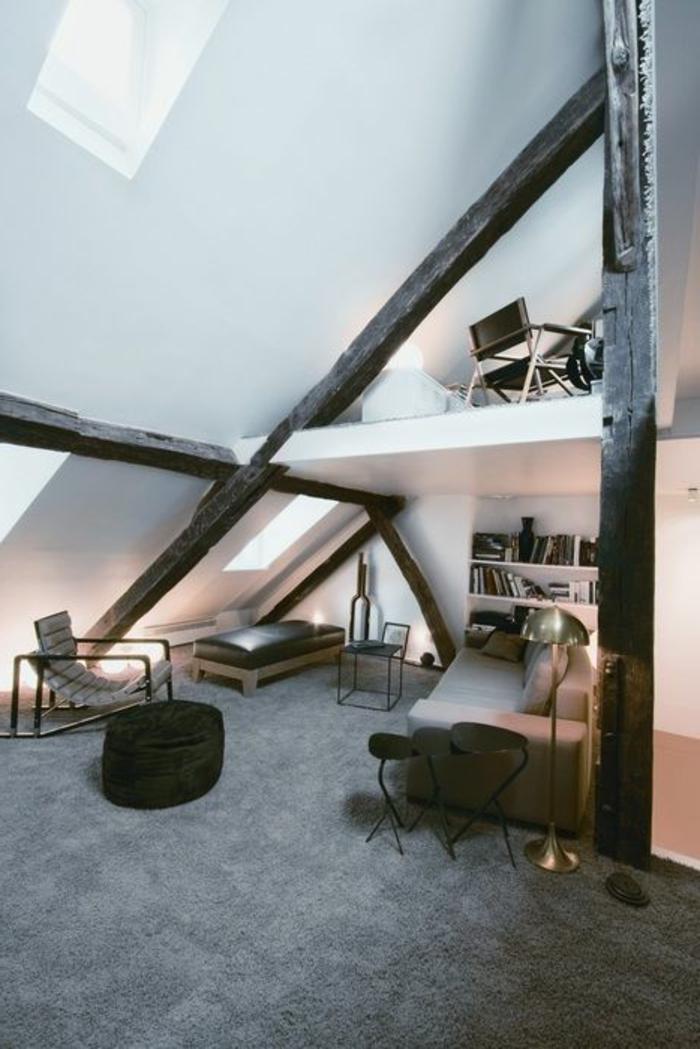joli-appartement-d-esprit-loft-avec-murs-blancs-et-poutre-bois-massif-marron-foncé
