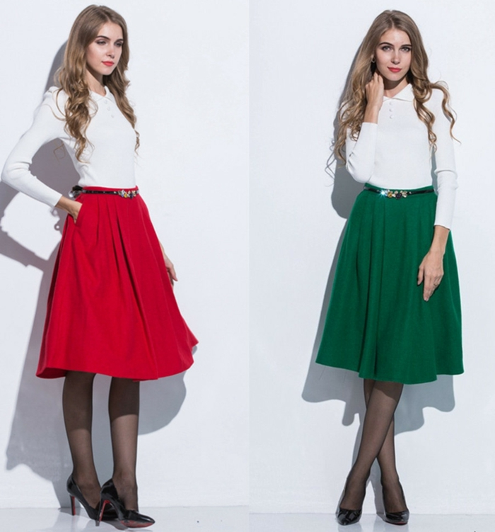jupe-trapeze-verte-et-rouge=chemise-blanche-et-fille-avec-cheveux-blonds-levres-rouges