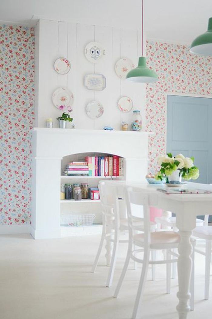 la-plus-belle-chambre-de-séjour-avec-papier-peint-style-anglais-pour-la-cuisine