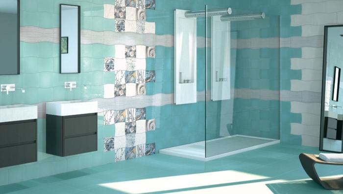 deco salle de bain carrelage bleu. Black Bedroom Furniture Sets. Home Design Ideas