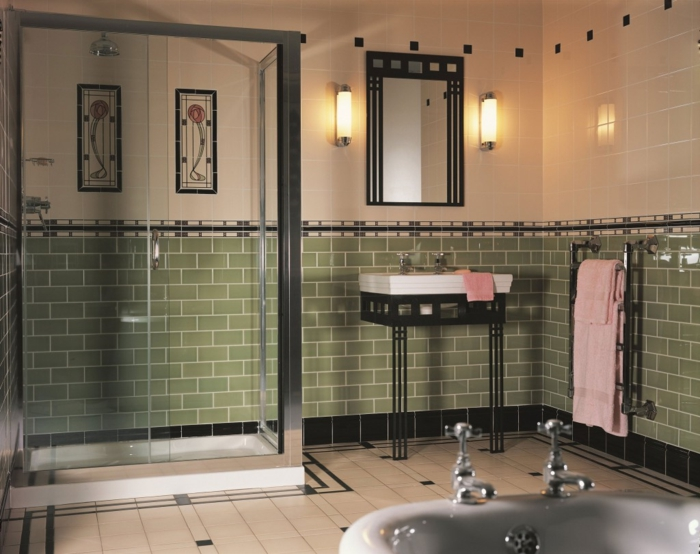 le carrelage salle de bain - quelles sont les meilleures idées ... - Carrelage Vert Salle De Bain