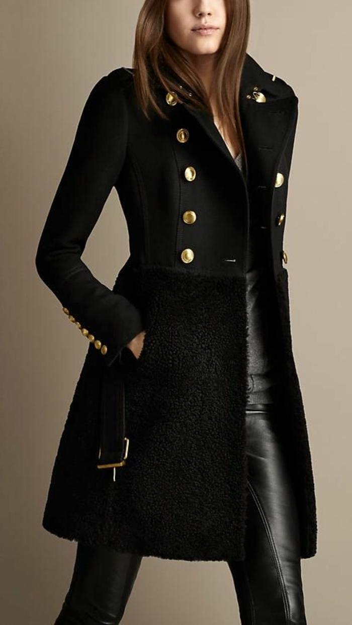 le-manteau-noir-kaki-tenu-militaire-casuel-pour-tous-les-jours