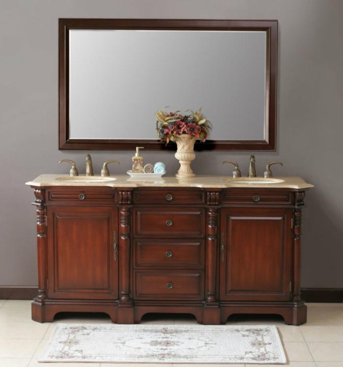 Meuble double vasque 50 id es am nagement salle de bain - Meuble salle de bain ancien en bois ...
