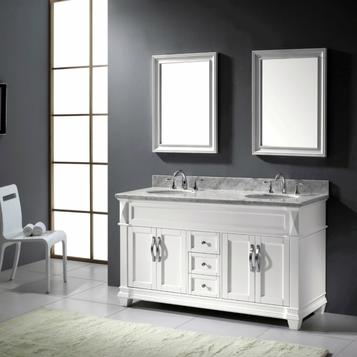 Meuble double vasque 50 id es am nagement salle de bain for Meuble lavabo double vasque