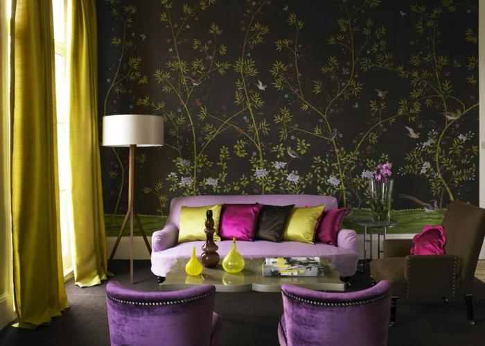 le-papier-peint-salon-design-papier-peint-trompe-l-oeil-vert-et-violet