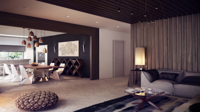 le-salon-bien-aménagé-salle-de-séjour-revetement-mural-bois-salle-à-manger-chaises-originaux