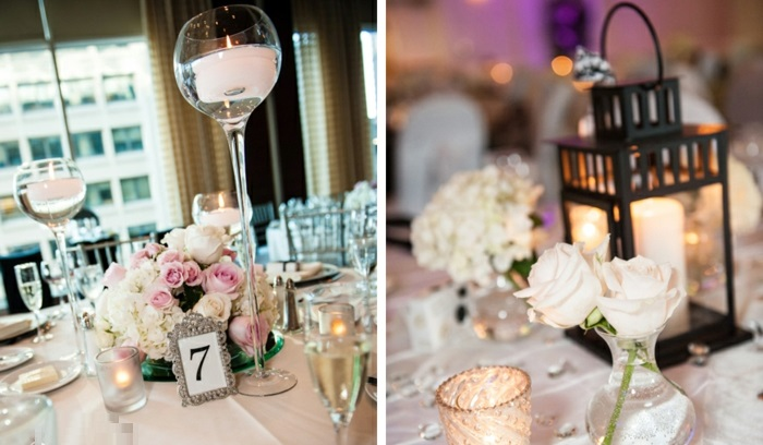 Inspirational wedding table centerpieces that feature candles and tea lights.