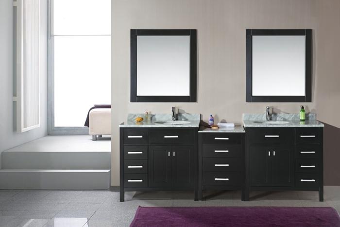 Meuble double vasque 50 id es am nagement salle de bain for Meuble double salle de bain