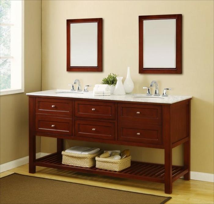 Meuble double vasque 50 id es am nagement salle de bain for Meuble double vasque en bois