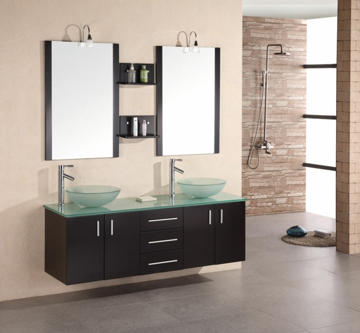 Bathroom with double sink ideas a wonderful modern for Meuble lavabo double vasque