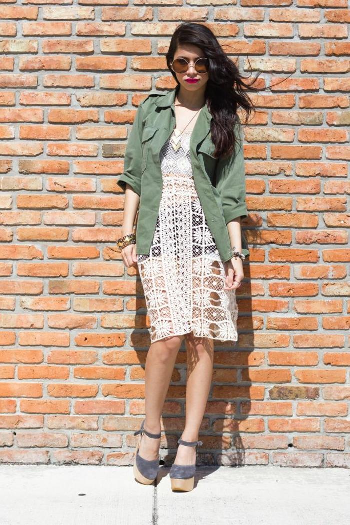 militaire-veste-femme-tendances-automne-2015-robe-dentelle