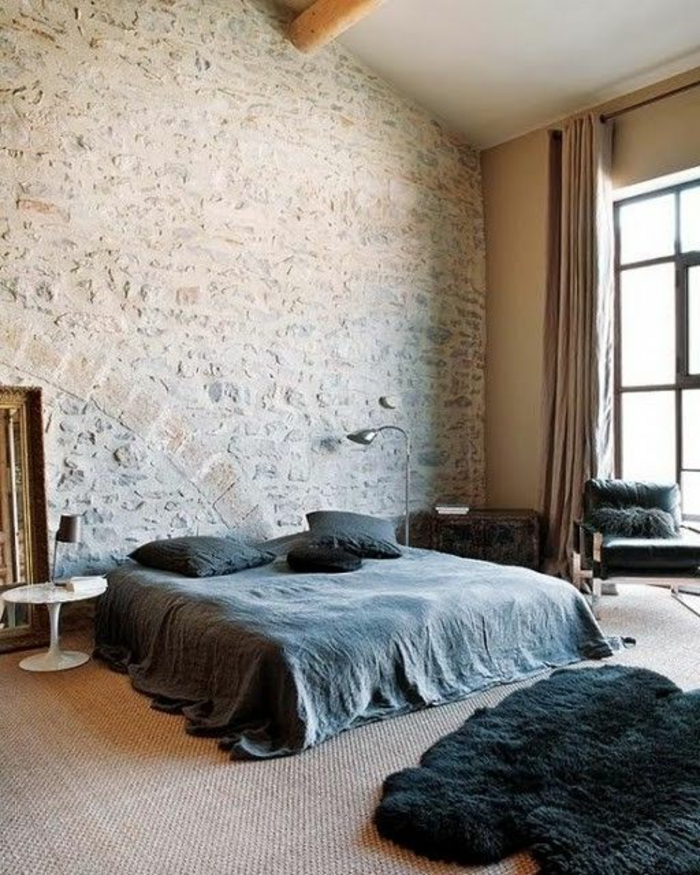 le mur en pierre apparente en 57 photos. Black Bedroom Furniture Sets. Home Design Ideas
