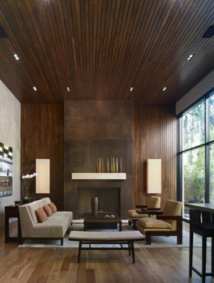 panneau-mural-parement-bois-idée-rustque-chambre-aménagement-csalle-de-séjour-cool