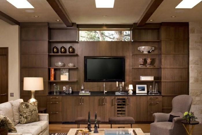 panneau-mural-parement-bois-idée-rustque-chambre-télé-meuble-tv