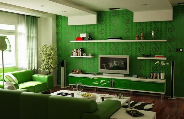 papier-peint-blanc-design-beau-mur-idées-à-faire-le-vert