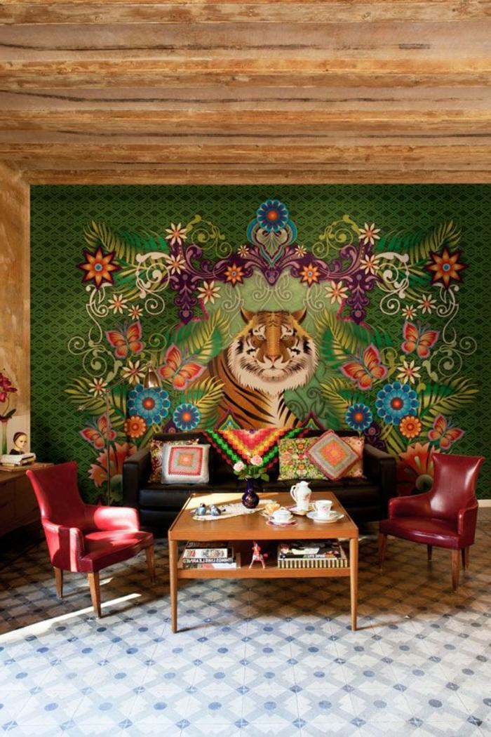 papier-peint-blanc-design-beau-mur-idées-à-faire-tigre