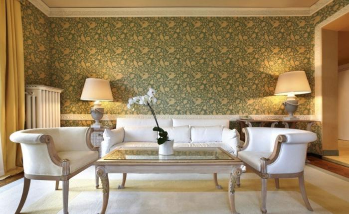 papier-peint-blanc-design-beau-mur-idées-à-faire-vintage-salle-de-sejour