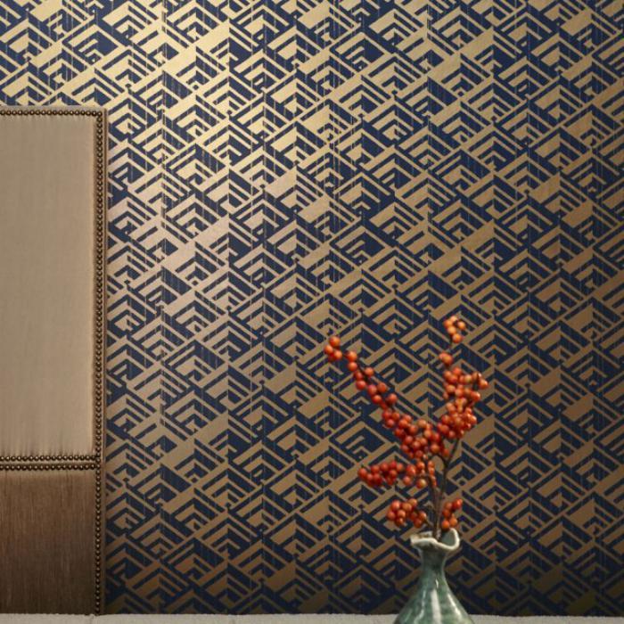 papier-peint-de-couloir-bleu-doré-géométrique