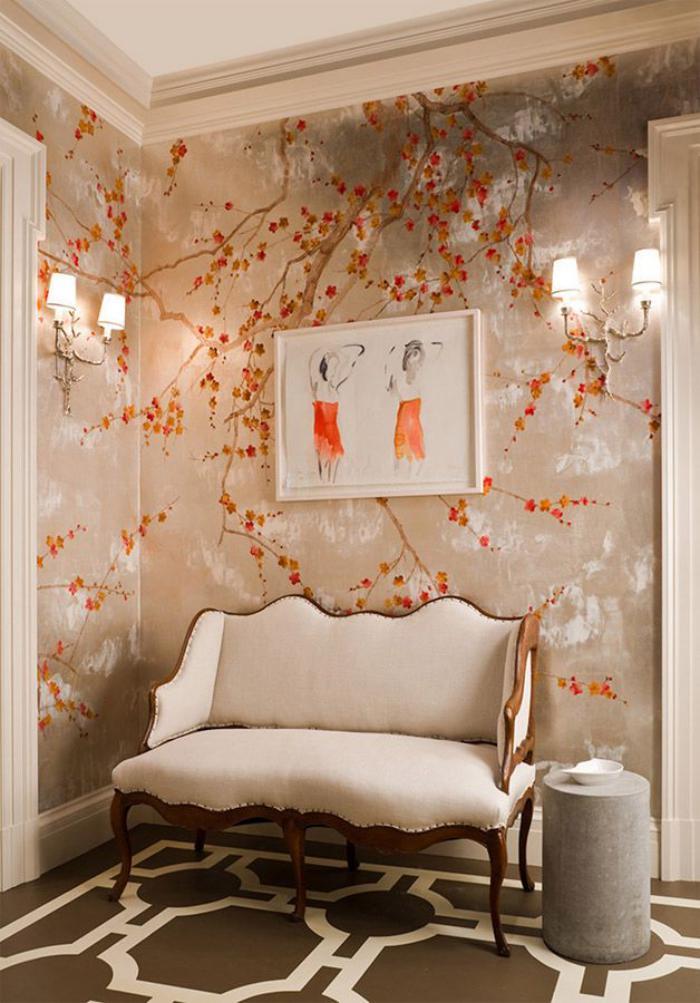 papier-peint-de-couloir-chinoiserie-déco-murale