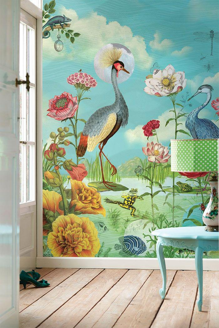 Choisir un papier peint de couloir original for Bird mural wallpaper