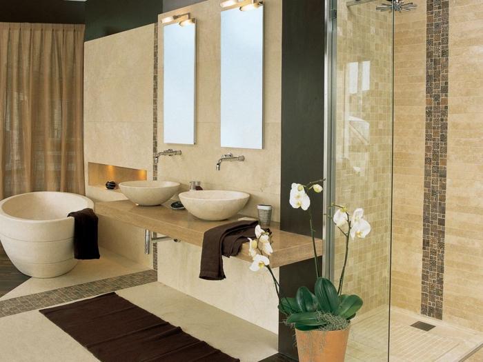 peinture-carrelage-salle-de-bain-idées-originales-à-réaliser-orchidées