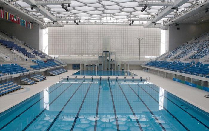 piscine olympique, l'intérieur du complexe à Beijing