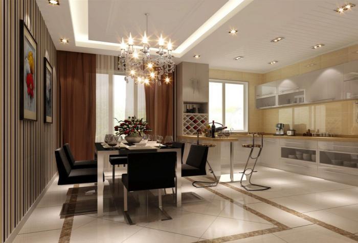 plafond-lumineux-jolie-salle-de-déjeuner-et-cuisine-moderne