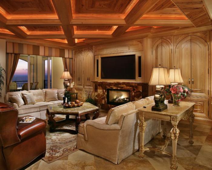 plafond-lumineux-en-bois-intérieur-style-traditionnel