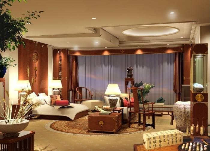 plafond-lumineux-faux-plafond-avec-éclairage-dans-une-chambre-à-déco-asiatique
