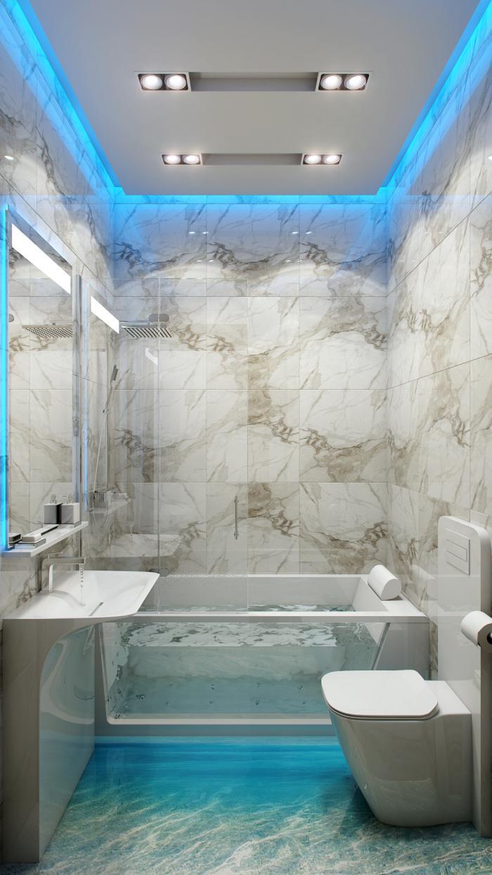 plafond-lumineux-installation-éclairage-dans-la-salle-de-bains