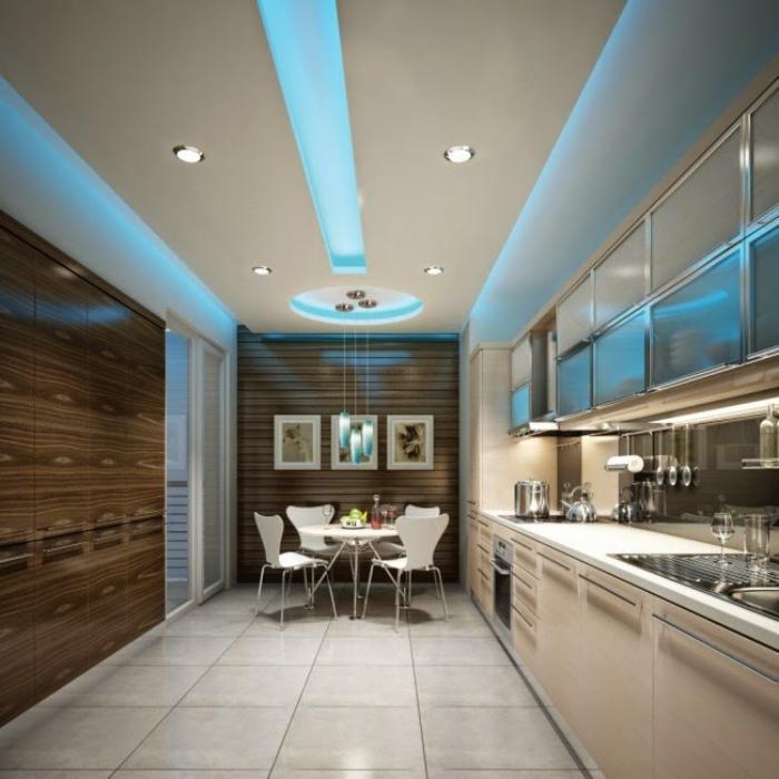plafond-lumineux-lumières-led-bleues-dans-une-cuisine-moderne