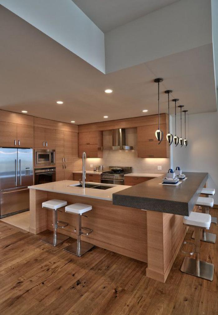 plafond-lumineux-petites-lampes-encastrables-cuisine-contemporaine